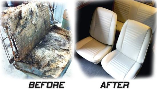 Car reupholstering before after