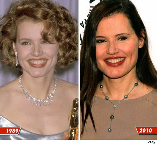 Geena Davis then and now