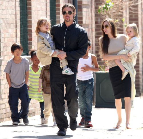 Angelina Jolie, Brad Pitt & their children