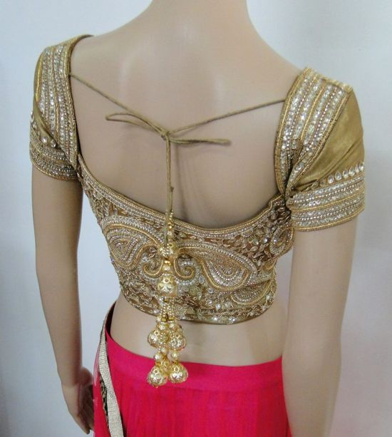 Kundan work bridal saree blouse design
